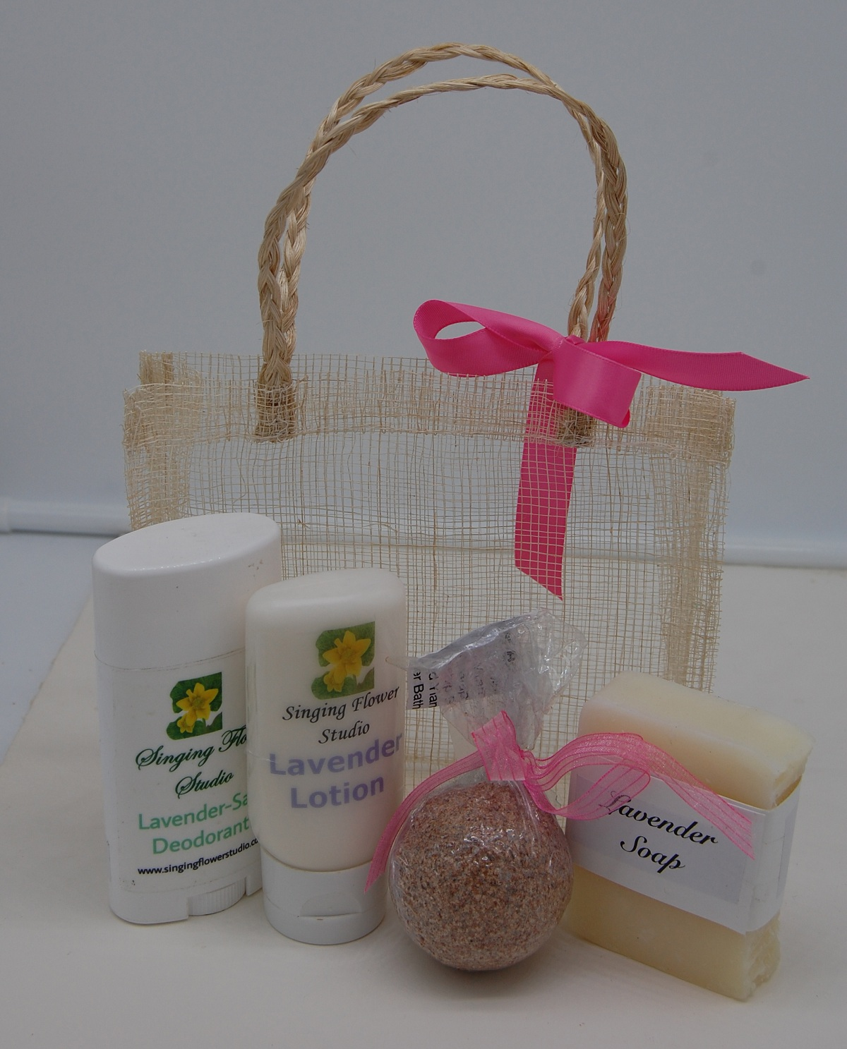 Lavender Gift Basket contents in front